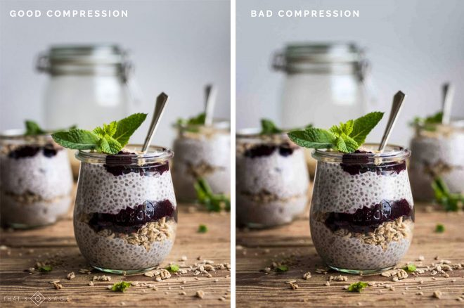 Food Blogger's Guide To Optimizing Food Photos for the Web Good Compression vs Bad Compression