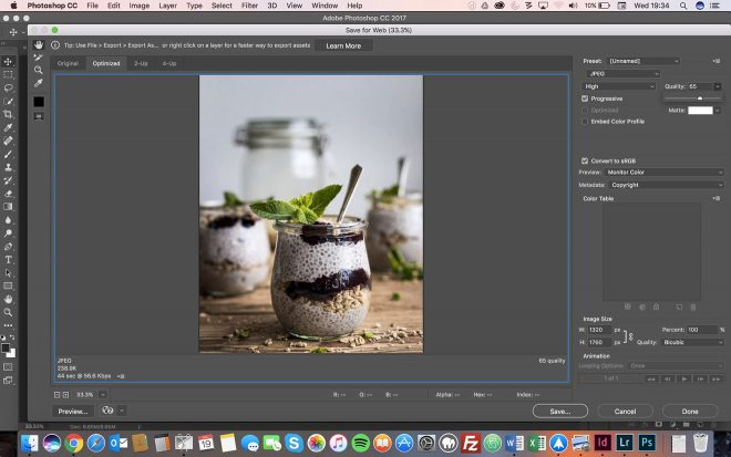Food Blogger's Guide To Optimizing Food Photos for the Web. Photoshop Save for Web Example