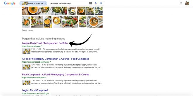 Google Reverse Image Search of Carrot and Ginger Soup