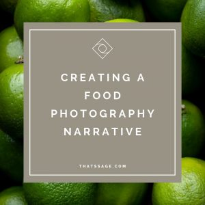 "Limes with text ""creating a food photography narrative"", photograph by Lauren Caris Short of Food Photography Academy"