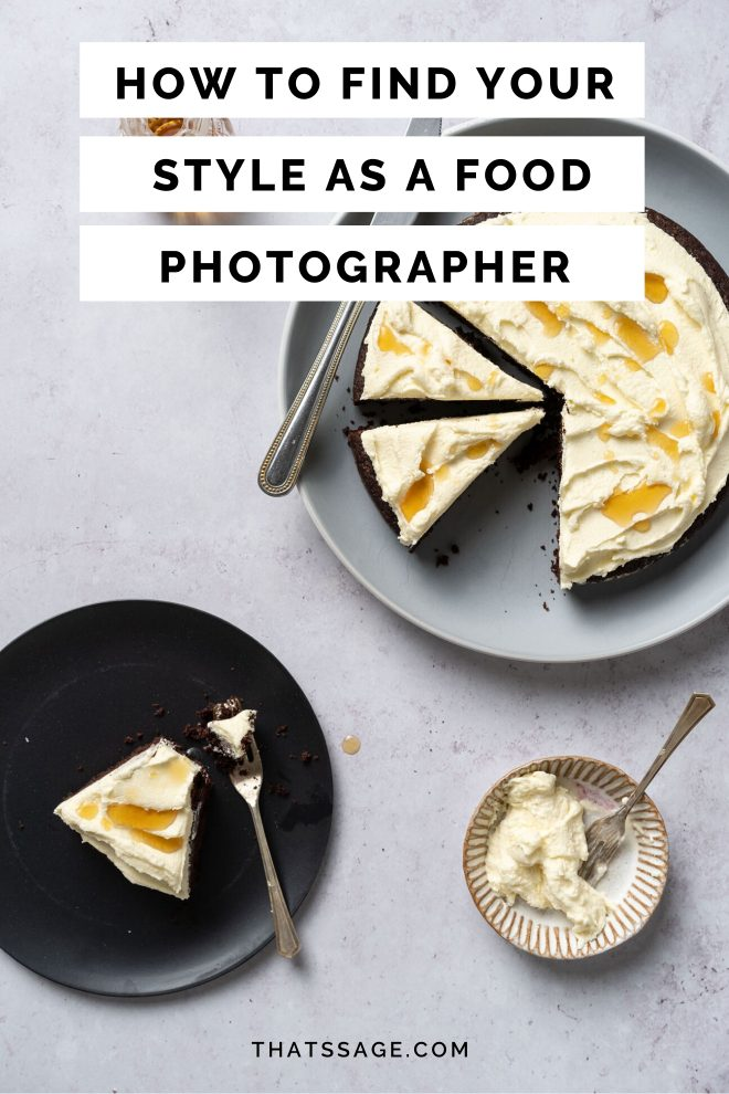 "Flat-lay of a chocolate cake with whipping cream photograph by Lauren Caris Short of Food Photography Academy with text that reads ""How to find your style as a food photographer"""