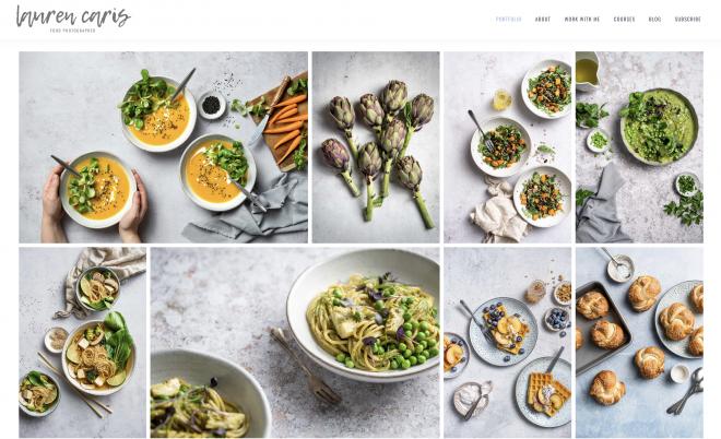 Screenshot of Lauren Caris' website with her food photography portfolio