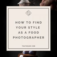 """Someone sprinkles chocolate powder on a chocolate cake with text that reads """"how to find your style as a food photographer"""""""