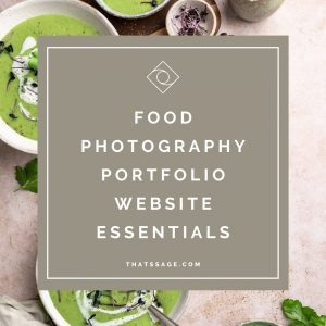 "Bowls of asperges soup, with text that reads ""food photography portfolio website essentials"""