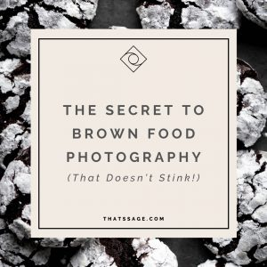 "Powdered sugared cookies as a background to text that reads ""the secret to brown food photography that doesn't stink"""