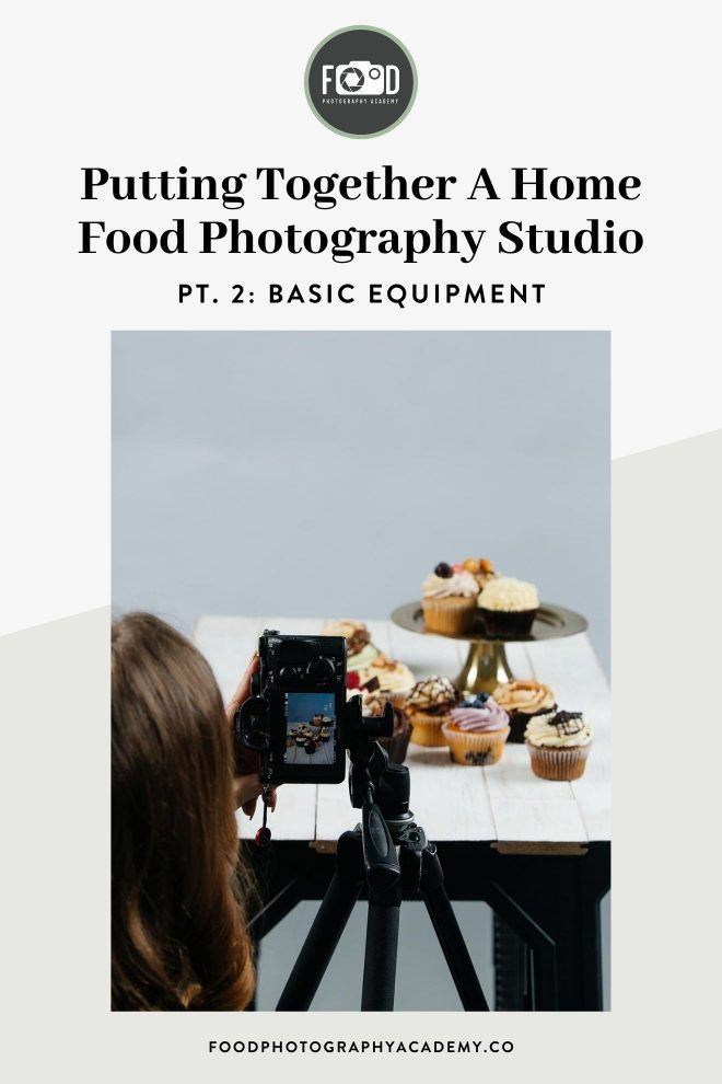 """Pinterest image of a soft box in a home food photography studio with text that reads """"putting together a home food photography studio pt. 3 lighting equipment'"""