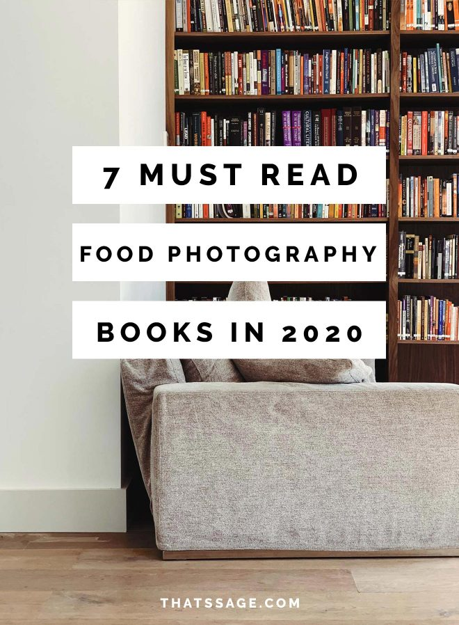 "floor to ceiling bookshelf with a couch in front. Text overlays the images ""7 must read food photography books in 2020"""