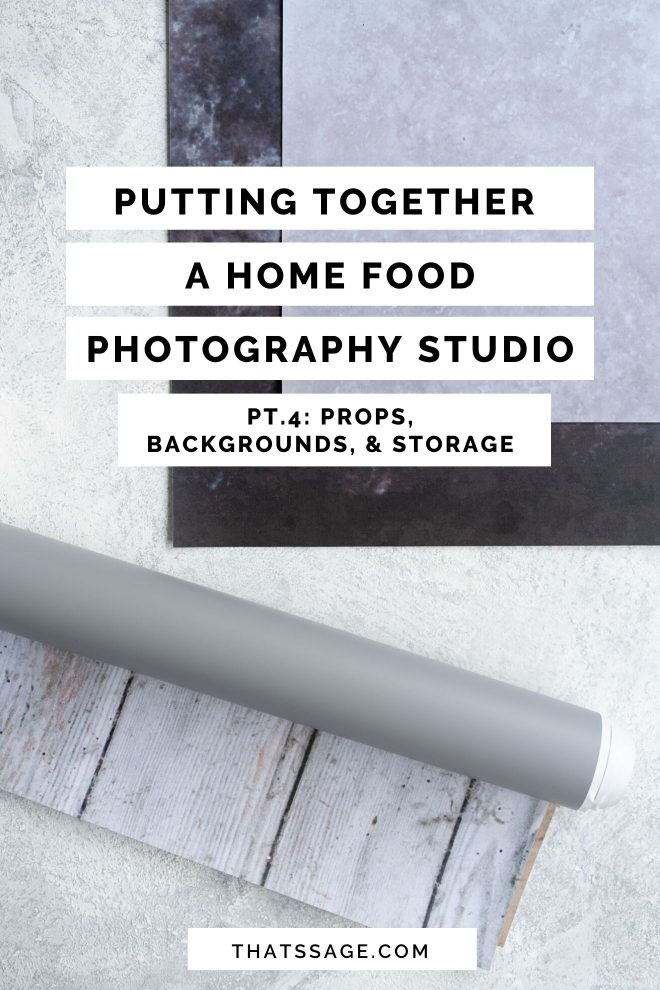 "Photo of different shades of charcoal, gray, and marbled textiles with text overlaying the image that reads ""Putting Together a Home Food Photography Studio Pt. 4: Props, Backgrounds, & Storage."" Photograph by Lauren Caris Short of Food Photography Academy"