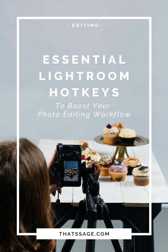 """Lauren Short, a professional food photographer takes photos of some cupcakes. Text over the image reads """"Essential Lightroom Hotkeys To Boost Your Editing Workflow."""""""