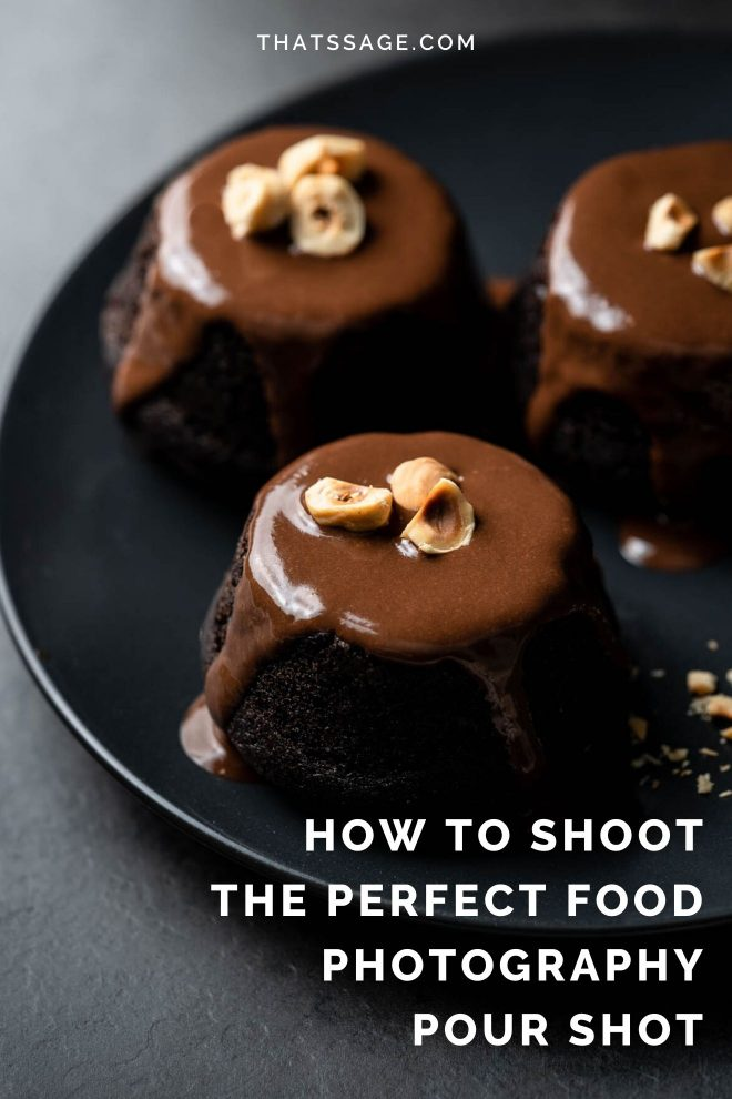 "three mini chocolate cakes on a plate. Each cake has chocolate sauce poured over it. Photo by Lauren Caris Short of Food Photography Academy. Text over image says ""how to shoot the perfect food photography pour shot."""
